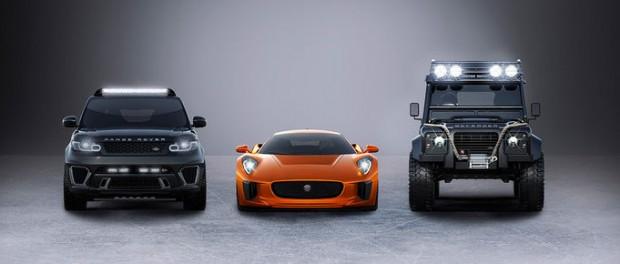 Några av bilarna som kommer att finnas med i den nya Bondrullen
